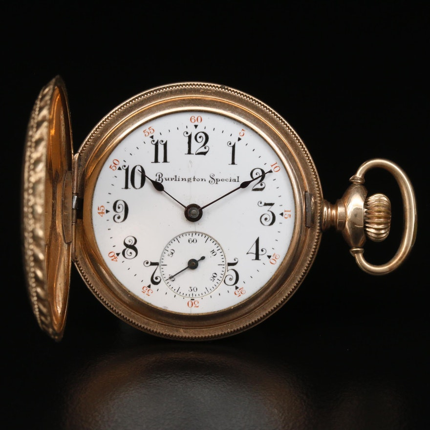 """1914 """"Burlington Special"""" 14K Gold Filled Hunting Case Pocket Watch"""