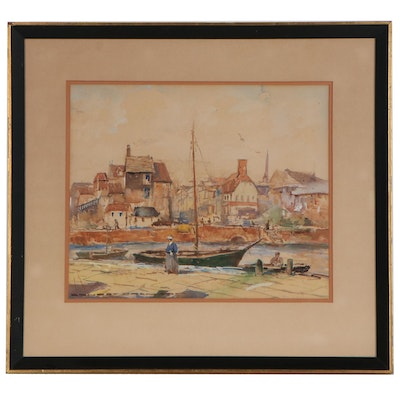 "Hjalmar ""Cappy"" Emerson III Village Harbor Scene Watercolor Painting"