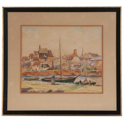"Hjalmar ""Cappy"" Emerson III Village Harbor Scene Watercolor Painting"
