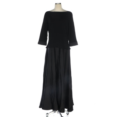 Tadashi Black Boat Neck Contrast Dress in Black
