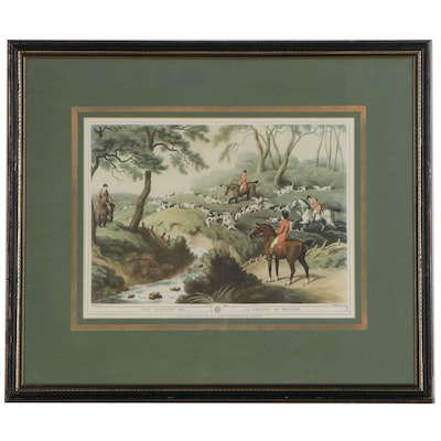 """Offset Lithograph After Samuel Howitt Hunting Scene """"Fox Hunting No. 3"""""""