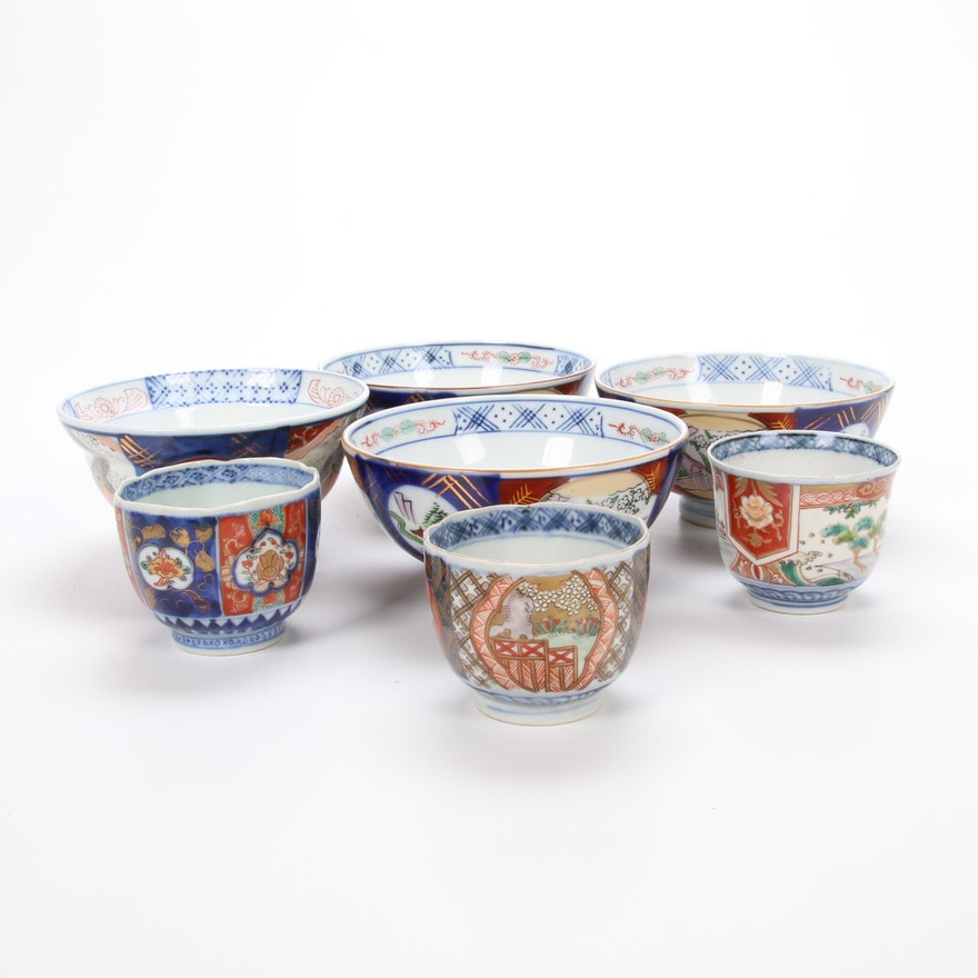 Japanese Imari  Hand-Painted Porcelain Bowls and Saki Cups
