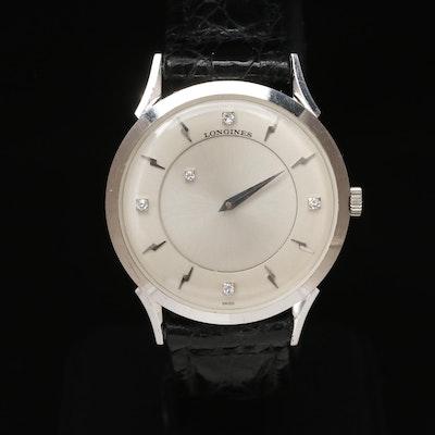 """1964 Longines """"Galaxy"""" Diamond Mystery Dial 14K White Gold Stem Wind Wristwatch"""