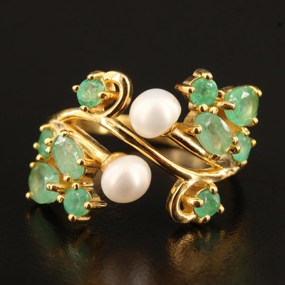 Sterling Silver Pearl and Emerald Foliate Motif Ring