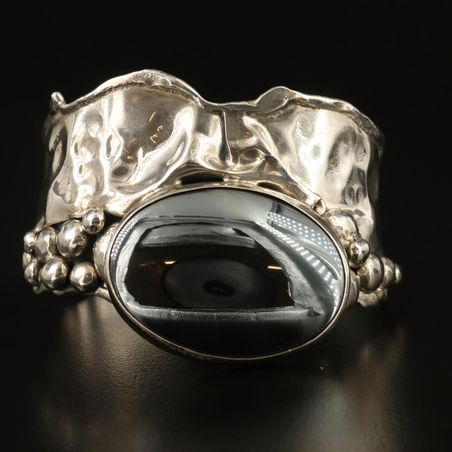 Sterling Silver Hematite Cuff with Biomorphic Design