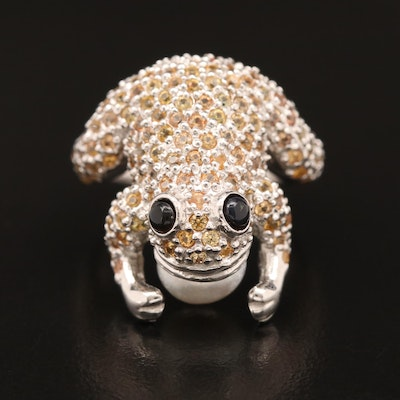 Sterling Silver Pearl, Sapphire and Glass Frog Ring