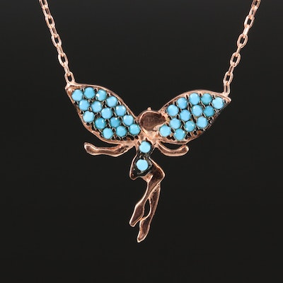 Sterling Silver Turquoise  Fairy Stationary Pendant Necklace