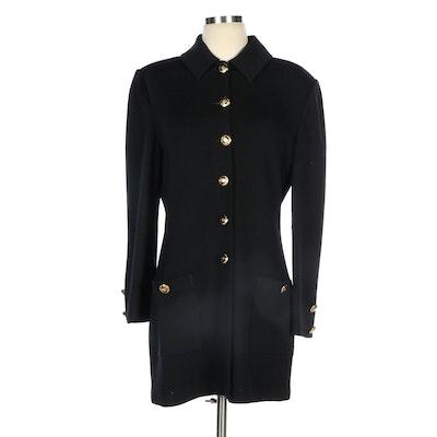 St. John Basics Knit Jacket in Black Wool Beldn
