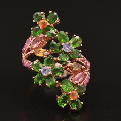 Sterling Silver Diopside, Ruby and Tanzanite Bypass Ring with Foliate Motif