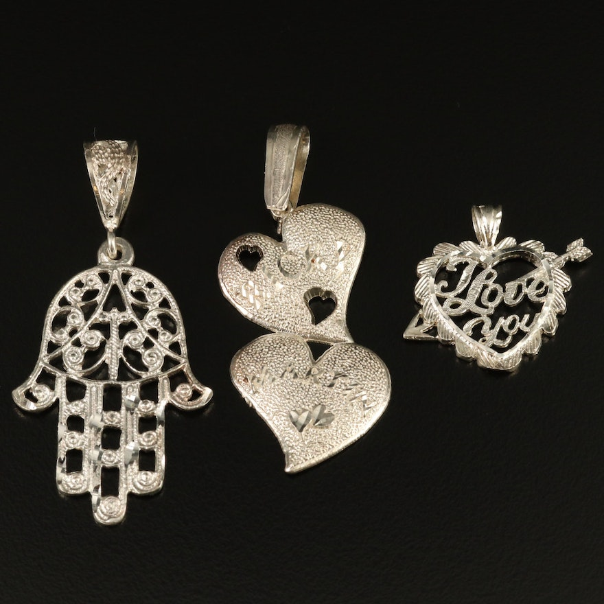 Sterling Silver Pendant Selection Featuring Hamsa Hand and Heart Designs