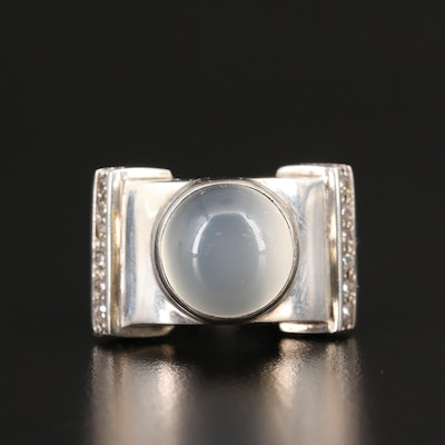Laurent Léger 950 Silver Moonstone, Cubic Zirconia and Sting Ray Leather Ring