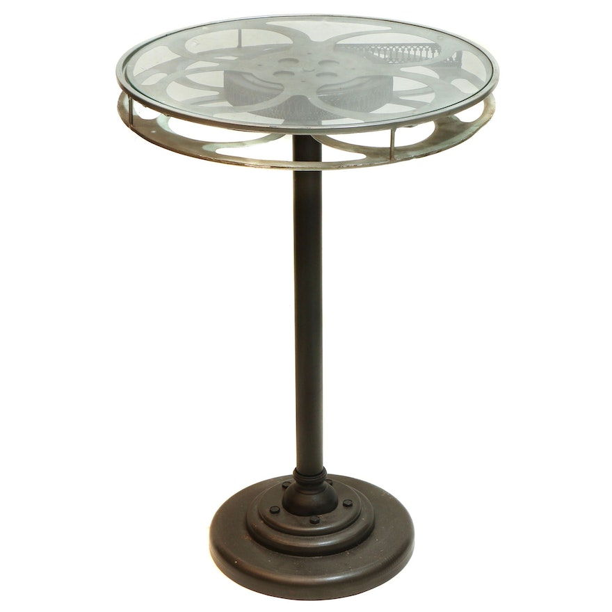 Film Reel Glass Top Accent Table