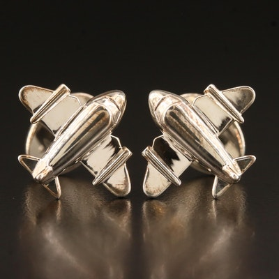 Tiffany & Co. Sterling Silver Airplane Motif Cufflinks