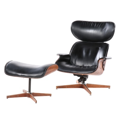George Mulhauser for Plycraft Eames Style Walnut and Leather Chair, Ottoman