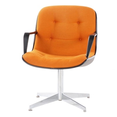 Mid Century Modern Upholstered Swivel Office Chair, Mid 20th Century