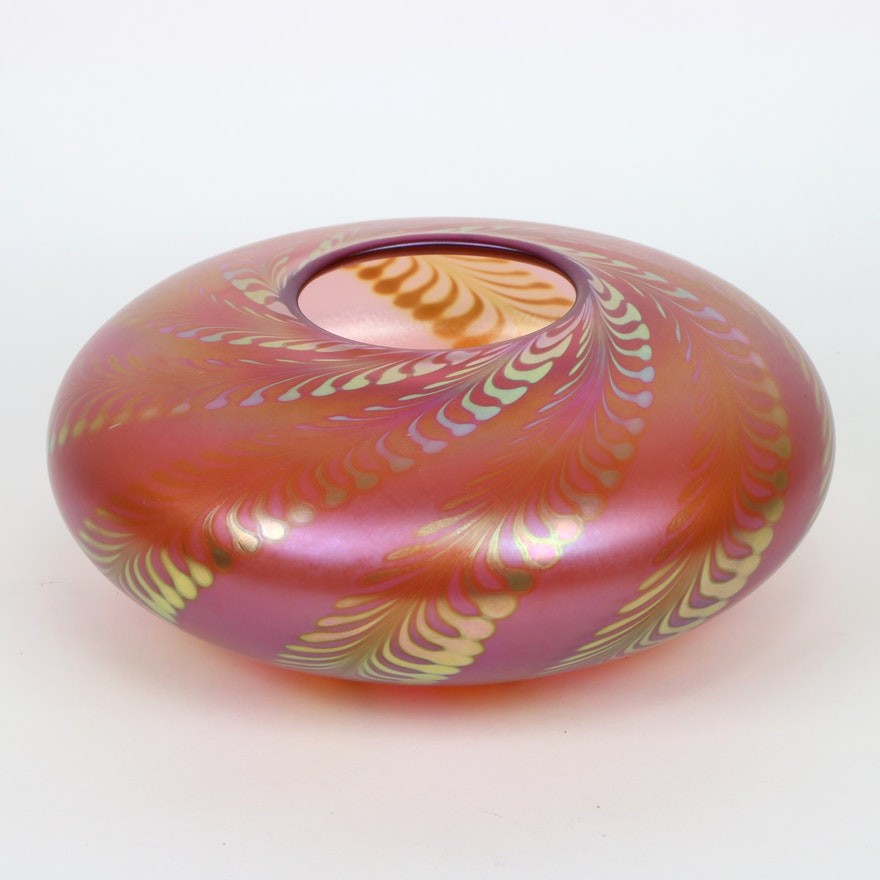 Correia Feather Pulled Iridescent Art Glass Vase, 1984