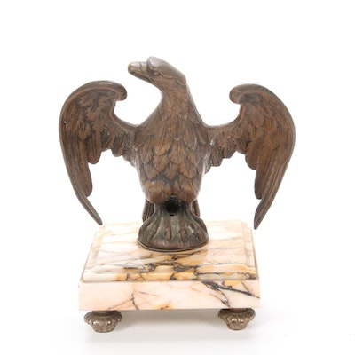 Bronze Eagle Figurine on Marble Base