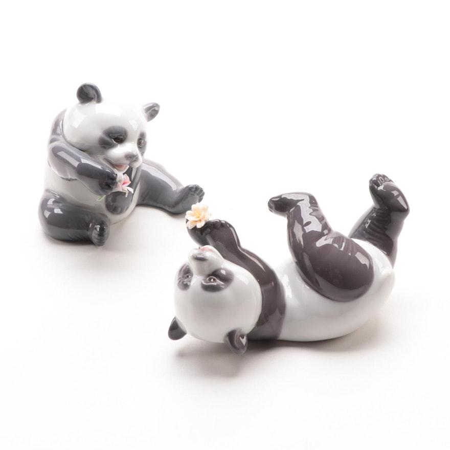 "Lladró ""A Cheerful Panda"" and ""A Joyful Panda"" Porcelain Figurines"