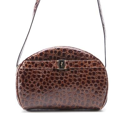 Salvatore Ferragamo Embossed Brown Leather Shoulder Bag