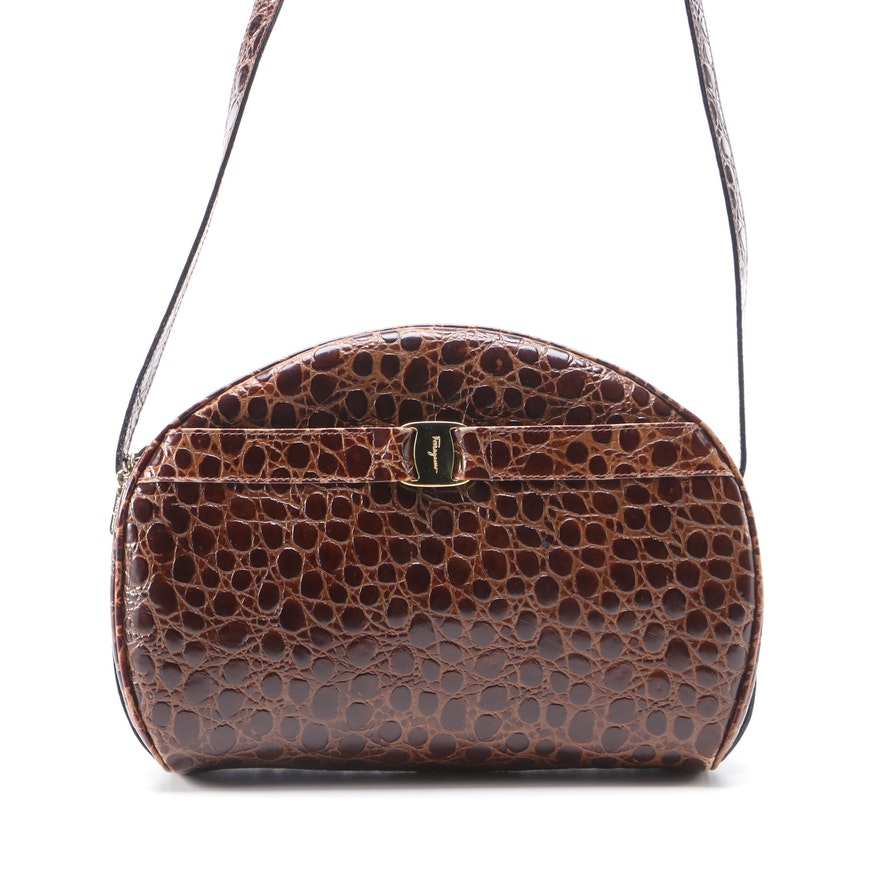 Salvatore Ferragamo Embossed Brown Leather Shoulder Bag