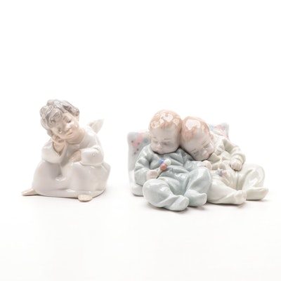 "Lladró ""Little Dreamers"" and ""Angel Thinking"" Porcelain Figurines"