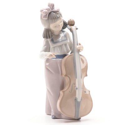 "Nao by Lladró ""Girl with Cello"" Porcelain Figurine, Late 20th Century"