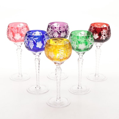 Set of Rainbow Bohemian Cut to Clear Wine Hocks, Contemporary