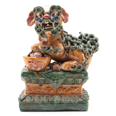 Chinese Sancai Glaze Ceramic Guardian Lion Figurine