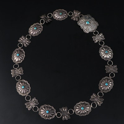 Southwestern Style Sterling Silver and Turquoise Concho Link Belt