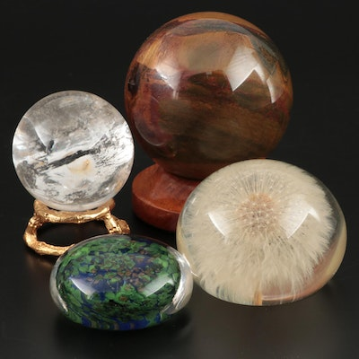 Tiger Eye, Crystal and Glass Paperweights, Late 20th/Early 21st Century