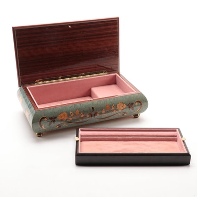 Italian Burl Wood and Marquetry Musical Jewelry Box with Reuge Movement