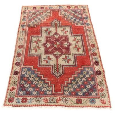 3'8 x 5'7 Hand-Knotted Caucasian Kazak Rug
