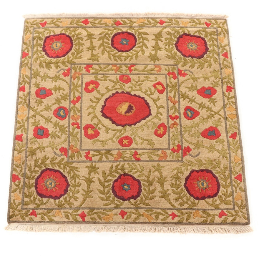 4'11 x 5'2 Hand-Knotted Tibetan Poppy Motif Rug