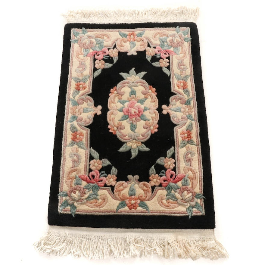 2'1 x 3'9 Hand-Knotted Sino-French Aubusson Sculpted Accent Rug