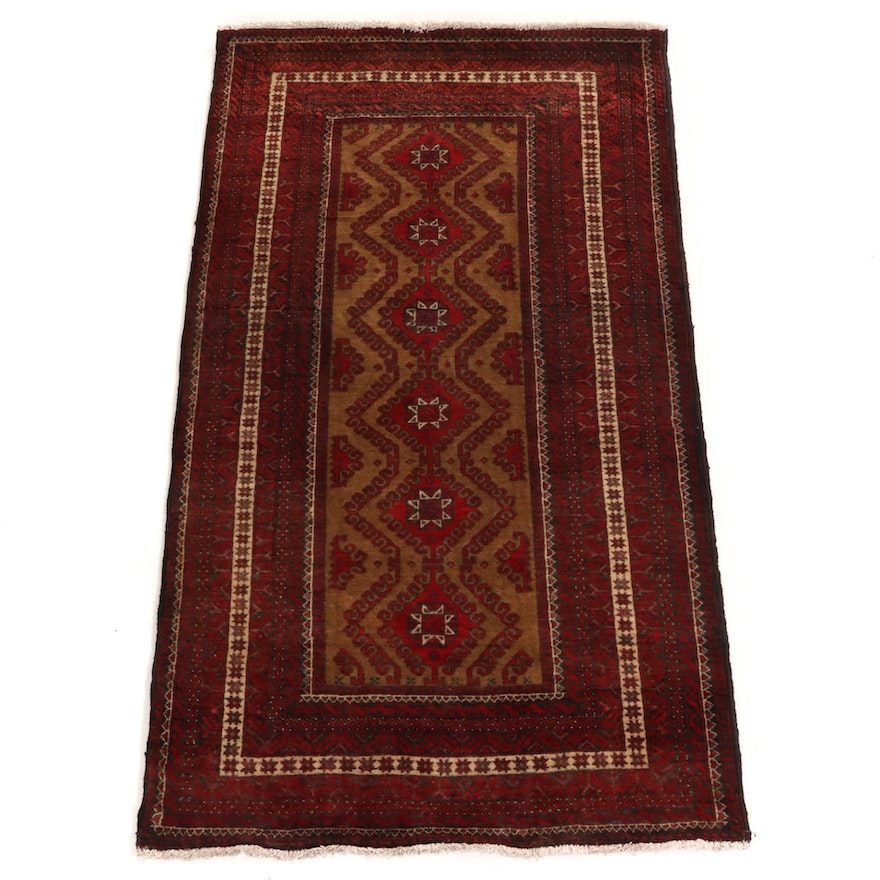 3'8 x 6'6 Hand-Knotted Afghani Turkoman Runner