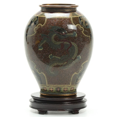 Japanese Dragon Cloisonné Vase on Stand, Late 19th to Early 20th Century