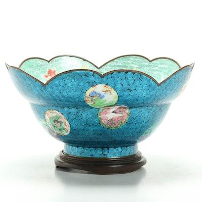 Japanese Koi Ginbari-Jippo Cloisonné Center Bowl, Early 20th Century