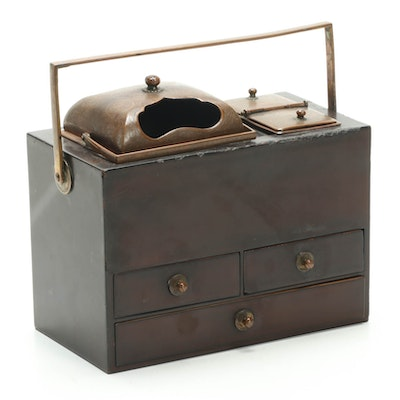Japanese Lacquered Zelkova Wood and Etched Bronze Tobacco Box, Late 19th Century