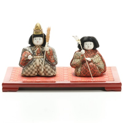 "Japanese ""Hina"" Style Dolls of Imperial Court Figures, Mid to Late 20th Century"