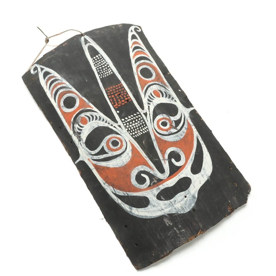 """Haus Pangal"" Painting on Bark Panel, Papua New Guinea"