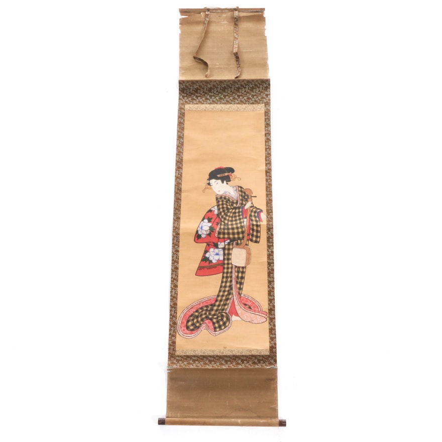 Japanese Figural Watercolor and Gouache Hanging Scroll Painting