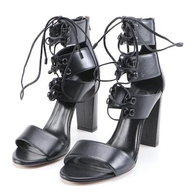 Ruthie Davis New York Black Leather Strap High Block Heel Sandals
