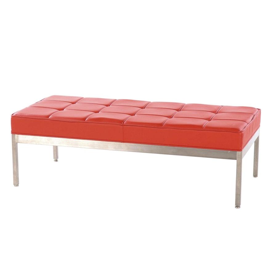 Contemporary Modern Vinyl Upholstered Bench