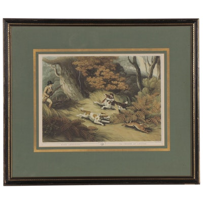 """Offset Lithograph After Hunting Genre Engraving """"Hare Shooting"""""""
