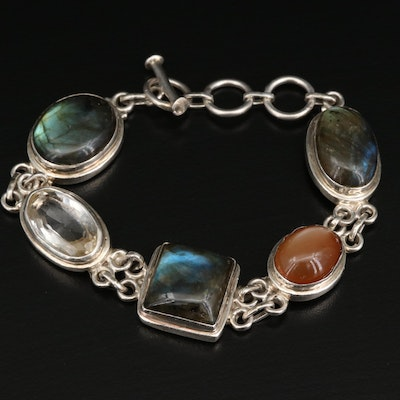 Sterling Labradorite, Moonstone and Citrine Bracelet