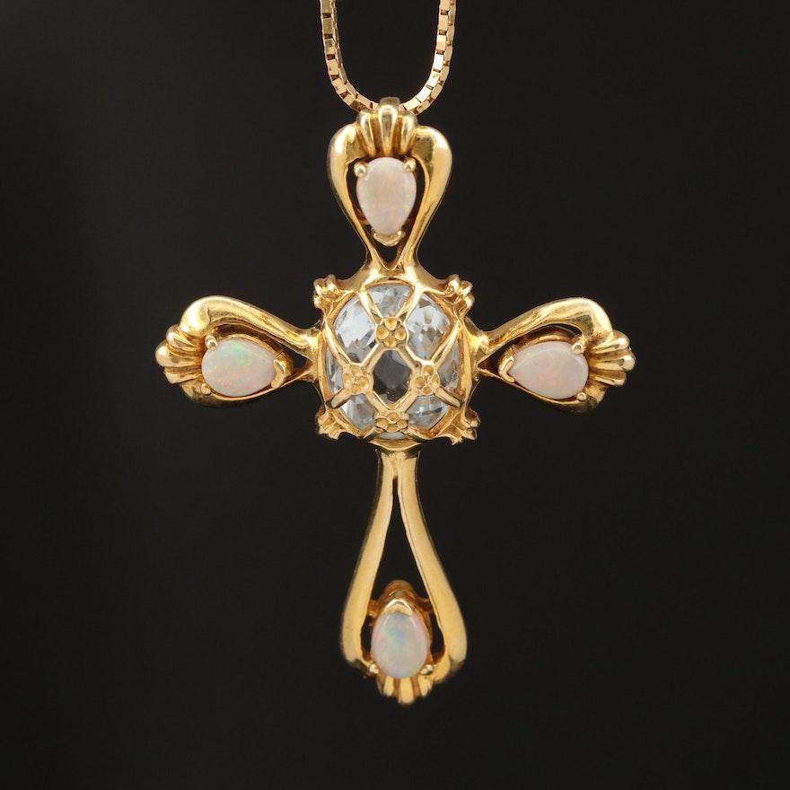 14K Topaz and Opal Cross Pendant Necklace