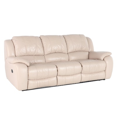 Contemporary Cream-Leather Upholstered Pillow Back Reclining Sofa