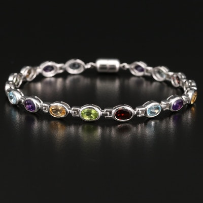 Amethyst, Peridot and Garnet Line Bracelet in Sterling
