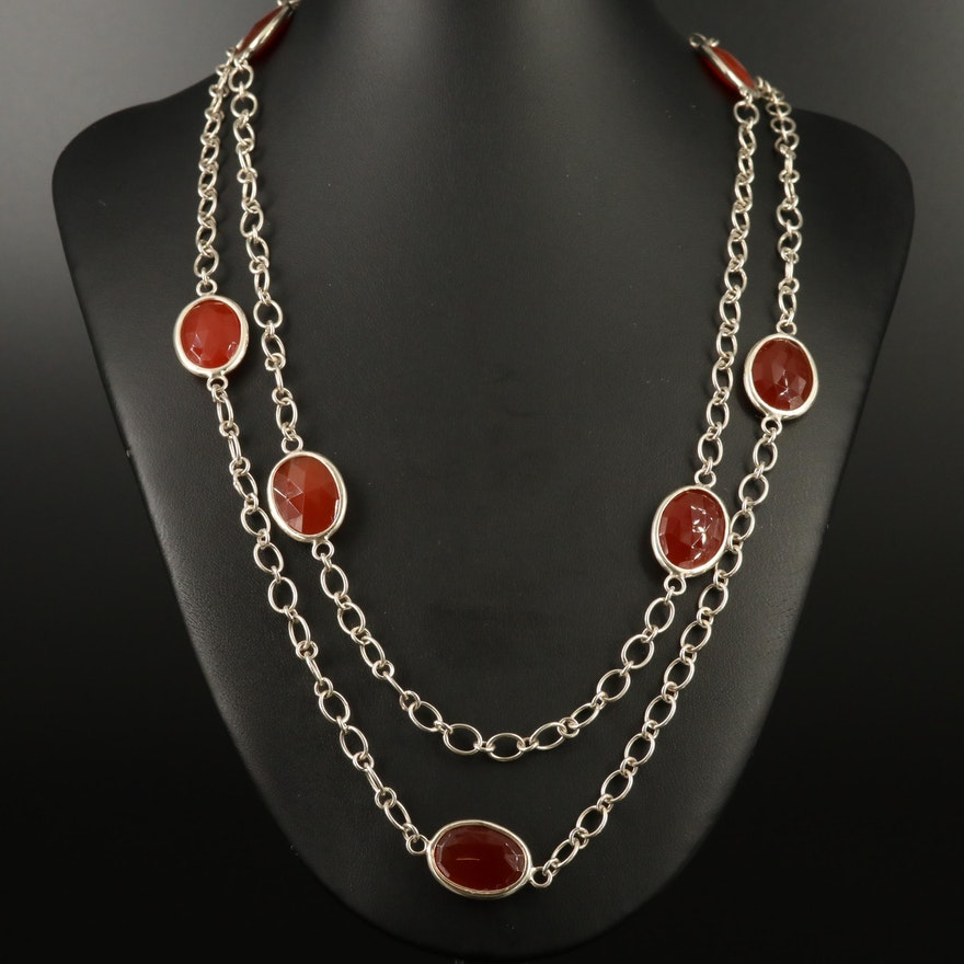 Laurent Léger 950 Silver Carnelian Station Necklace