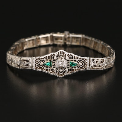 Art Deco 14K Diamond Bracelet